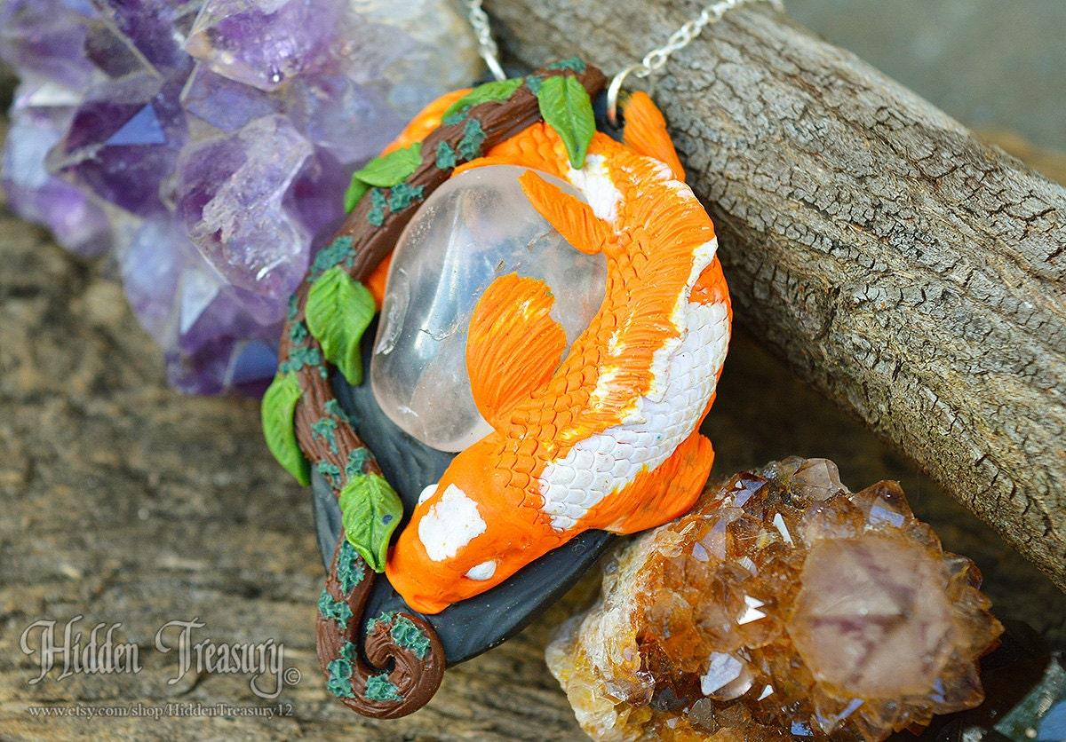 Koi fish necklace handmade polymer clay ooak pendant animal for Clay koi fish