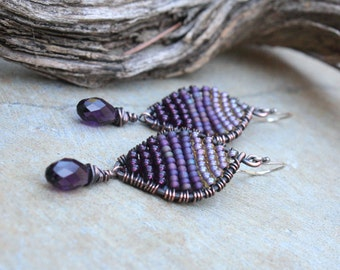 Woven Copper Earrings,  Seed Bead Earrings, Petal Earrings, Oxidized Copper, Purple Earrings, Wire Jewelry, Boho Jewelry, Picasso Earrings