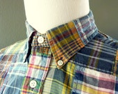 Vintage POLO by Ralph Lauren 100% Cotton Indian PATCH Madras Plaid Trad / Ivy League Casual Shirt M.  Made in India.