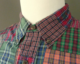 Vintage POLO by Ralph Lauren 100% Cotton Indian PATCH Madras Plaid Trad / Ivy League Long Sleeved Casual Shirt XL 17 - 37.  Made in India.