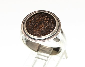 sterling silver men's ring with authentic ancient roman coin, ancient coin ring, men's silver signet ring