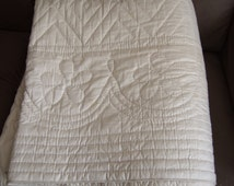 Vintage, French, Boutis, Quilt, Blush  White Satin, Hand Stitched. 1900s  Double sided.