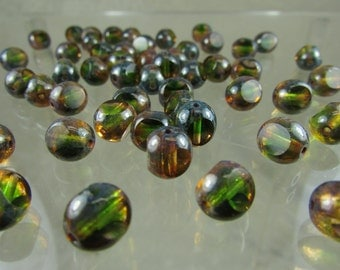 Czech glass Green and champagne picasso tri- cut round 8mm beads
