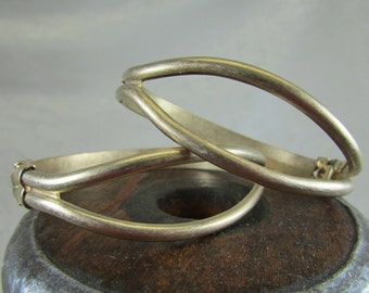 Vintage brass hinged cuff bangle bracelet blank