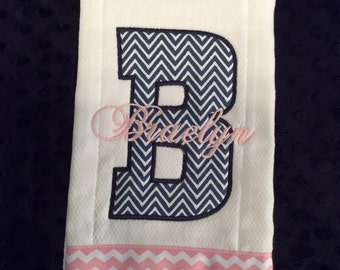 Navy Chevron and pink Initial Burp Cloth