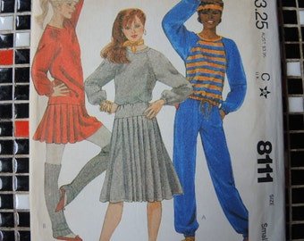 vintage 1980s McCalls sewing pattern 8111 uncut misses top skirt pants for stretch knits only size 10 12
