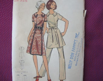 vintage 1970s Butterick sewing pattern 6283 misses dress or tunic and pants size 10 uncut