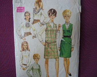 vintage 1960s simplicity sewing pattern 7765 misses jumper and blouses size 14