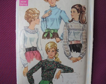 vintage 1960s simplicity sewing pattern 7814 misses blouses size 12