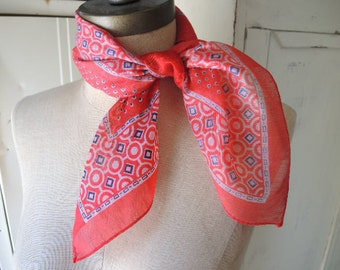 Vintage 1970s classic red scarf  21 x 21 inches