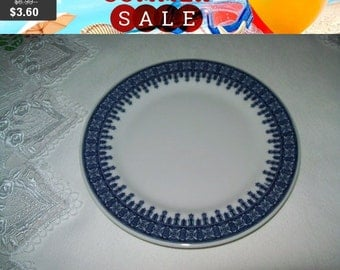 SALE 60% Off Shenango Blue and white geometric pattern plate, Hotel Restaurant ware, 6.5 inch plate