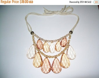 SALE 50% Off Vintage amber crackle bead necklace, bib necklace, statement necklace