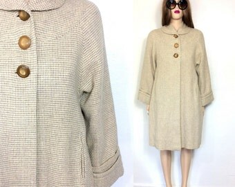 Vintage 50's Coat Swing Coat Vintage Wool Coat Large 60's Coat Retro Coat Mid Century Clothing Tweed Medium mad men style