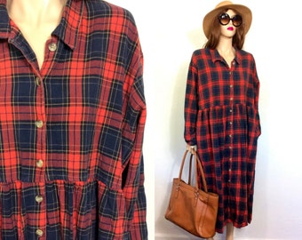 90s Dress Minimalist Dress Oversized Dress Vintage Plaid Cotton Dress Slouchy Night Gown Baggy Dress Large Long Sleeve Cabin XL Clothing 80s