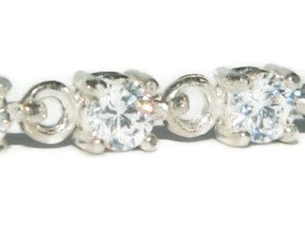 Sterling Silver Tennis Bracelet, Diamond Bracelet,  7 Inches Long