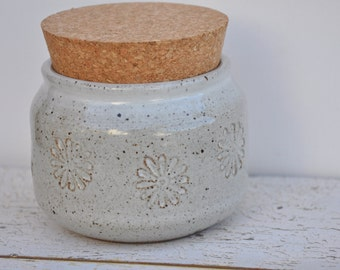 Handmade ceramic jar, corked jar, corked pottery jar, sugar jar
