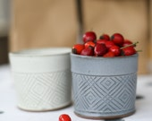 Modern Ceramic Cup, Gray  Dessert Cups, Geometric Patterned cup,Chocolate cup, Small baking dish, Ice Cream Bowl, Fruit Salad Cup,SET OF TWO