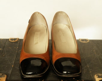 Pierre Cardin 1960s black and brown Leather Spectator Shoes size 9