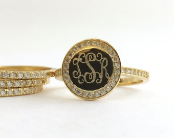 Gold Monogram Signet Ring, Monogram Stacking Ring Personalized, Also in Sterling Silver or Rose Gold Ring Set with CZ