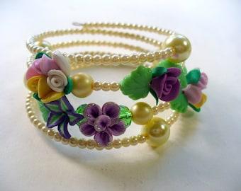 Pearl Memory Wire Bracelet, Flower Polymer Clay Bracelet, Wire Wrap Bracelet, Ivory Pearl, Blue, Purple, Green, Yellow, DLAbeaddesign