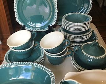 Harker Corinthian Luncheon Set Dsrk Teal Green 34 Pieces Dishwasher Safe