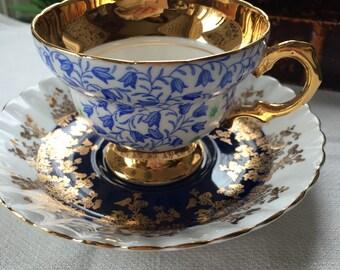 Stunning English Mismatched Teacup and Saucer Set Royal Albert and Rosina Deep Royal Blue