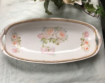 Antique Hand Painted Celery Dish P K Silesia