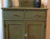 Antique Dry Sink/Cupboard Hand Painted green Shipping Not Included