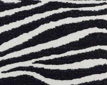 Black Ivory Zebra Upholstery Fabric - Modern Animal Fabric by the Yard - Zebra Pillow Covers - Black Exotic Animal Bedding Fabrics Online