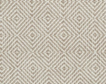 Taupe Geometric Upholstery Fabric - Woven Ivory Brown Furniture Material - Taupe Headboard Fabric - Custom Ivory Diamond Pillow Covers
