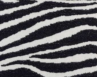 Black Ivory Zebra Upholstery Fabric - Modern Animal Fabric by the Yard - Zebra Pillow Covers - Black Exotic Animal Fabric for Furniture