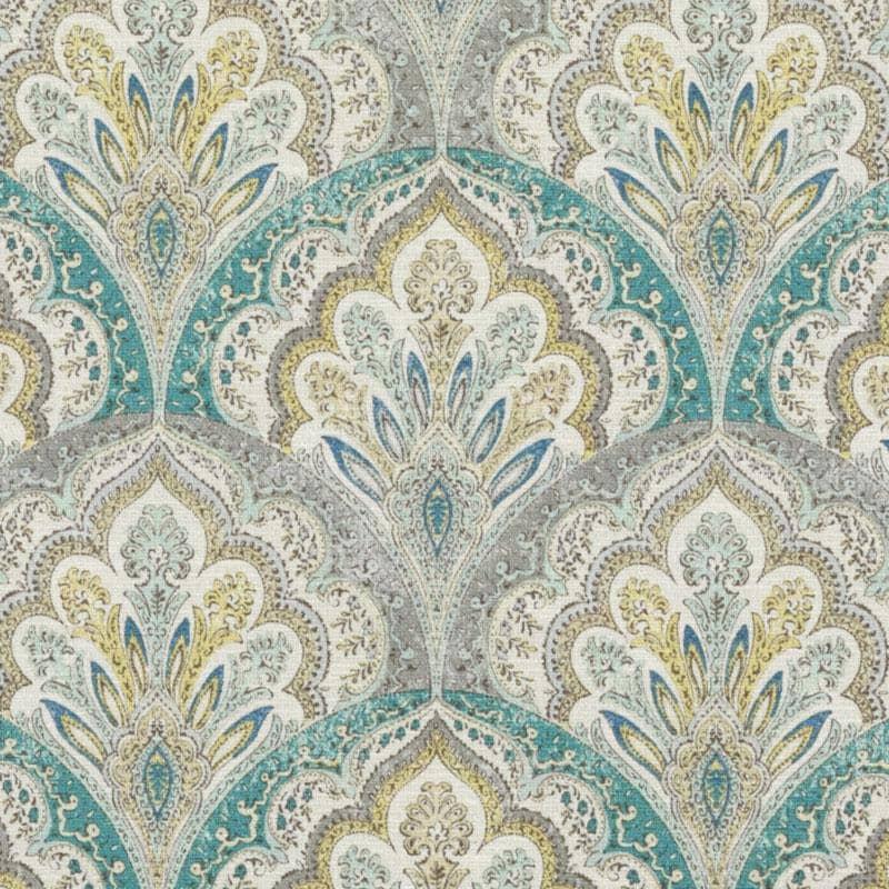 Light grey curtains - Teal Grey Paisley Upholstery Fabric Modern Yellow Grey