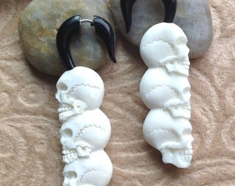 "Fake Gauge Earrings, ""Skull Trio"" Natural, Bone, Horn, Handcrafted, Tribal"