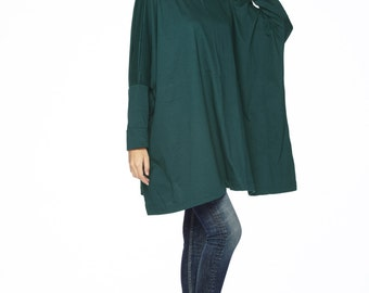 NO.62 Deep Teal Cotton Jersey Oversized T-Shirt Tunic Sweater, Women's Top
