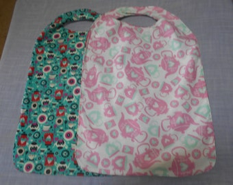 Large Tea Party CLOTHES PROTECTORS (Reversible Bibs) with Velcro fastener