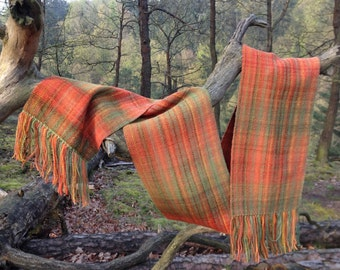 Scarf, self woven, hand dyed  and hand spun