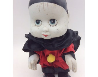 Sweet Large Ceramic and Soft Bodied Clown Doll- Vintage Kitsch Soft Bodied Clowns Ornament- 1970's Collectible
