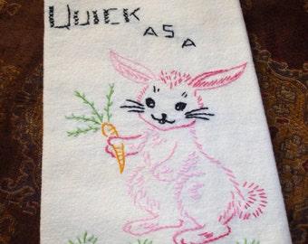 Kitchen Towel, Handmade, Hand embroidered, Embroidered Kitchen Towel, Easter bunny, Embroidered bunny, 1950s towel,  Retro kitchen,
