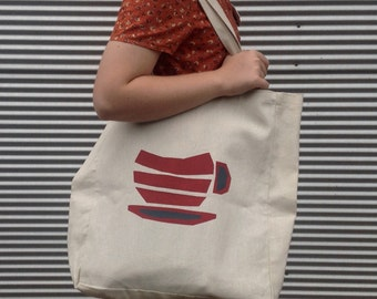 Handprinted Hemp Tote Bag with red/charcoal grey teacup design