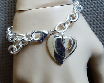 Silver Plated Double Heart Charm Chain Bracelet