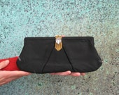 Vintage Glam Satin Clutch with Faux Jewel Detail