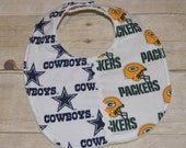 Wisconsin Green Bay Packers and Dallas Cowboys House Divided Baby Bib