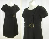 Vtg 60s - 70s Little Black Cocktail Wedding Dress with attached Belt & Rhinestone Buckle  L