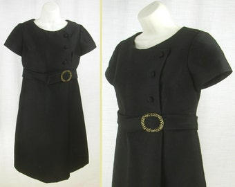 Vtg 60s - 70s Little Black Cocktail Wedding Dress with attached Belt & Rhinestone Buckle  L