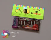 INSTANT DOWNLOAD -Digital File - Bee Valentine Treat Bag Topper- Printable