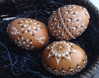 Set of 3 Decorated Brown Chicken Eggs, Polish Pysanky, Wax Embossed Eggs