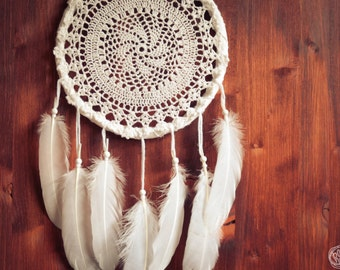 Dream Catcher - Pure Star - Unique Dream Catcher with White Handmade Crochet Web and White Feathers