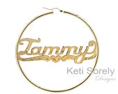 Large Hoop Nameplate Earrings w/ Diamond Cut Pattern (Order Any Name) - Personalized Hoop Earrings in Sterling Silver, Yellow or Rose Gold