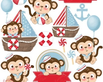 Sailor Monkey Monkeys 2 Baby Clipart Set