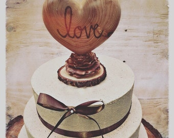 Unique Wedding Cake Topper Rustic Cake Topper Heart Wedding Cake Topper Customized Cake Topper Country Wedding